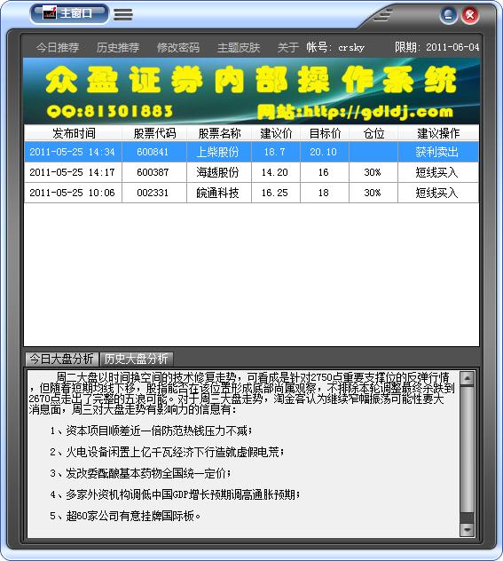 众盈证券内部操作系统 v1.6正式版